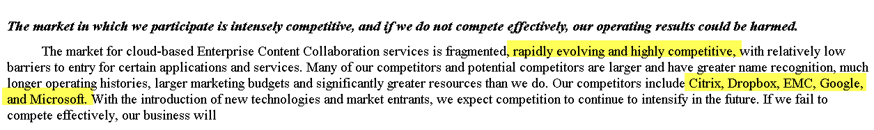 Box IPO - Competitive Environment