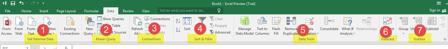 Data Tab Excel 2016