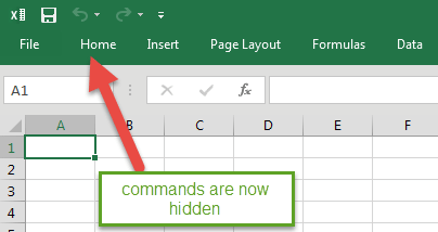 Excel 2016 Ribbon Collapsing - 2