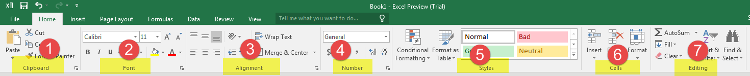 Home Tab in Excel 2016