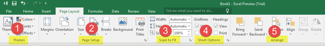 Page Layout tab Excel 2016