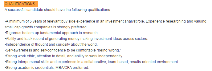 Equity Research Analyst Criteria