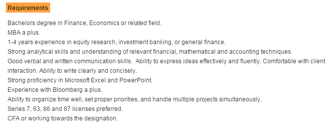 Equity Research Associate Criteria