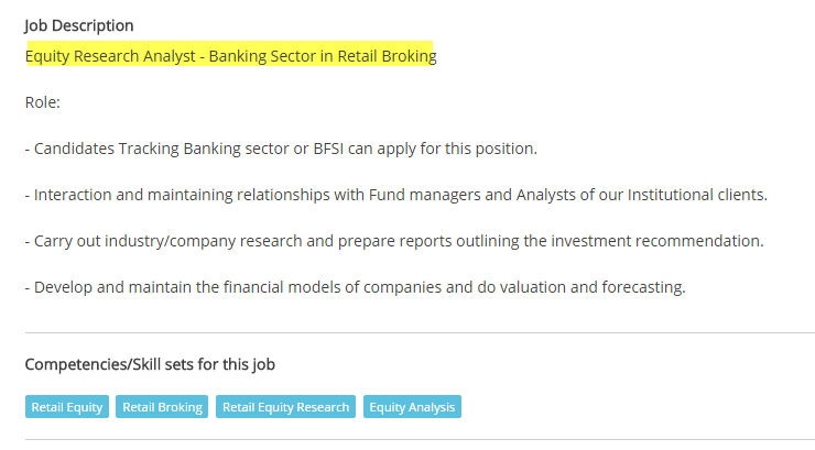 Equity Research Job Description
