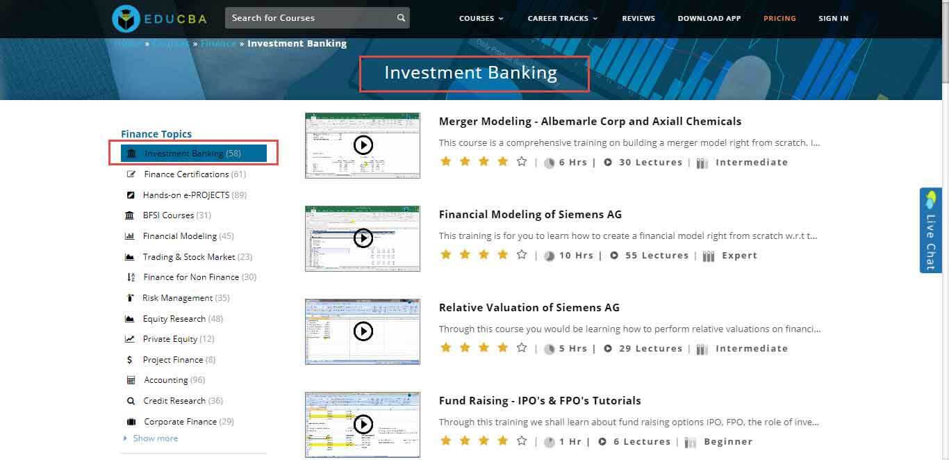 educba investment banking