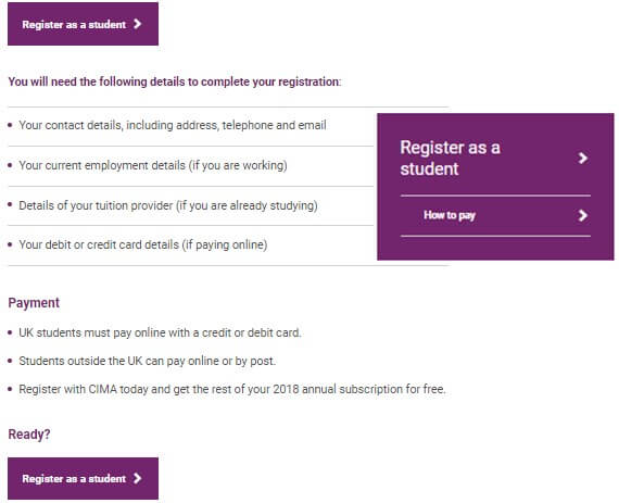 CIMA Exam 2020 Registration