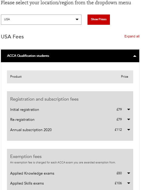 ACCA Exam 2020 Fees & Charges