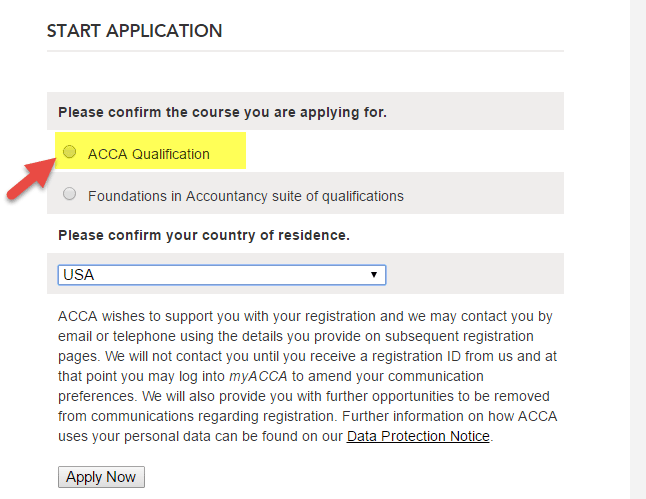 ACCA Exam Start Application