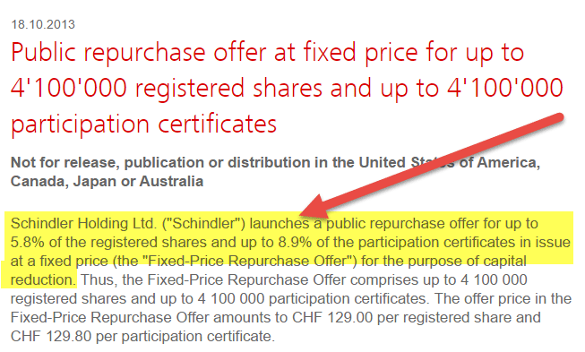 Fixed Price Share Repurchase Buyback