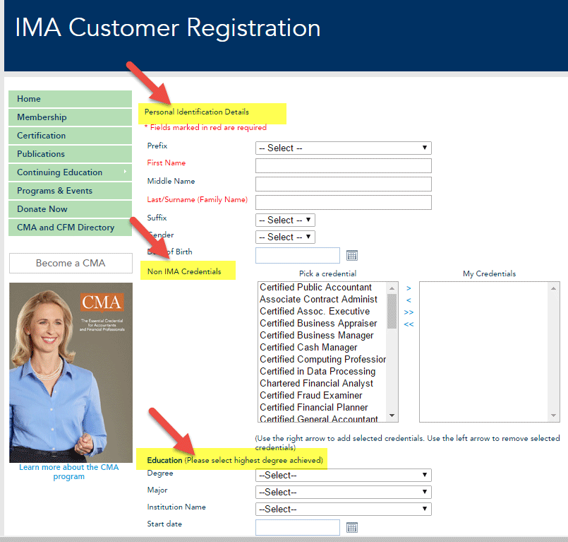 IMA customer registration