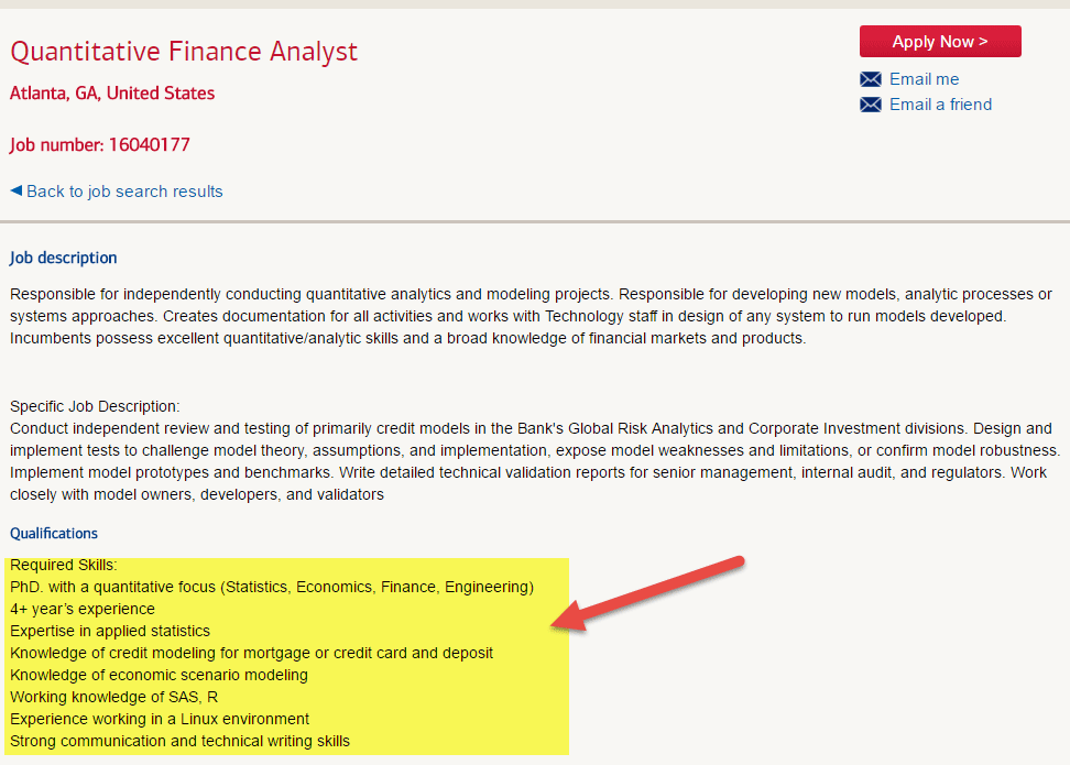 bank of america - quantitative analyst profile