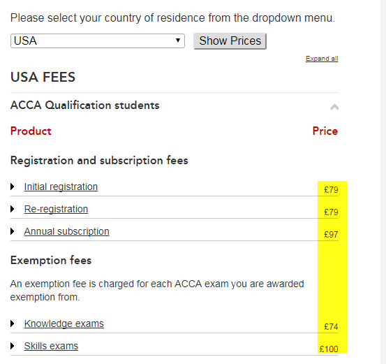 ACCA exam entry fee