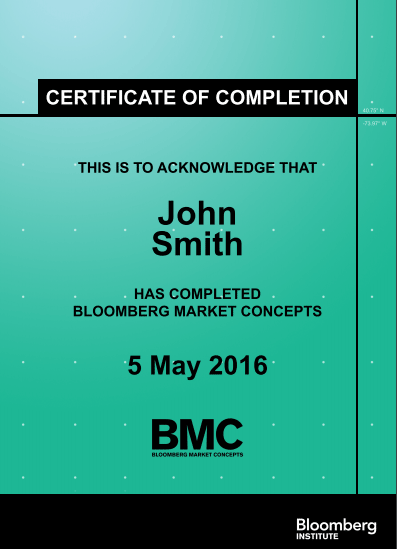 Bloomberg Market Concept - Sample Certificate
