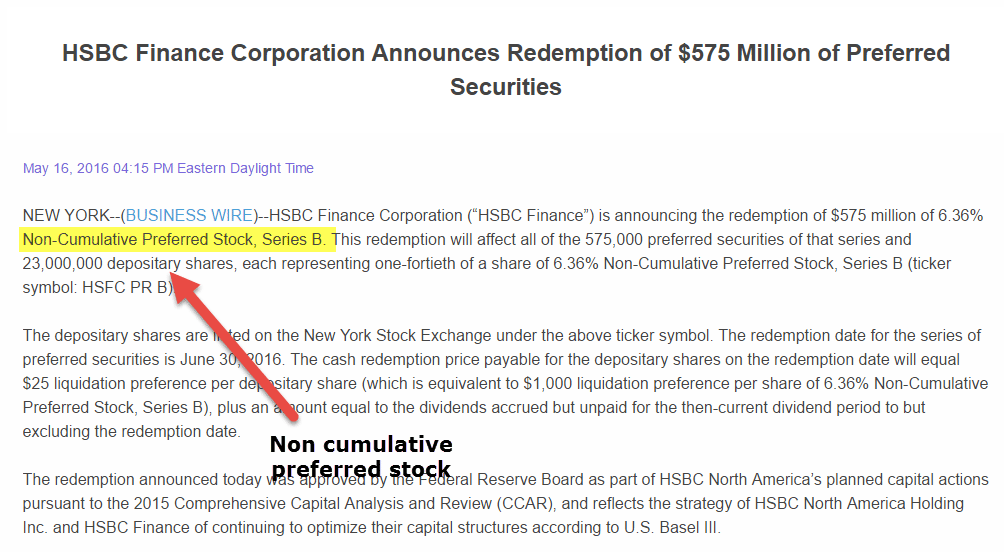 Non Cumulative Preferred Stock HSBC