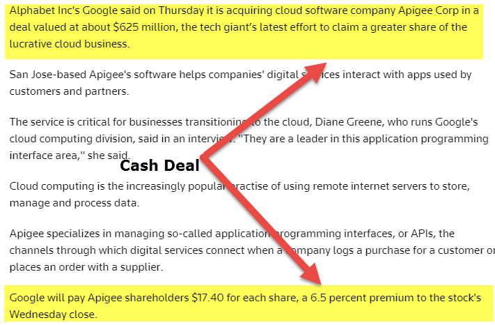 apigee cash acquisition by google