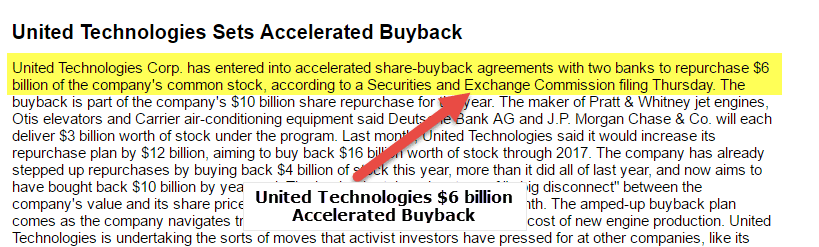 United Tech Accelerated Buyback 1