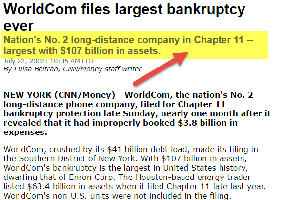 Worldcom - Bankruptcy chapter 11
