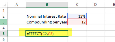 EFFECT - Financial Functions in Excel Example