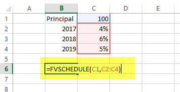 FVSCHEDULE - Financial Functions in Excel - Example
