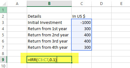 IRR - Financial Functions in Excel Example