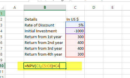 NPV - Financial Functions in Excel - Example