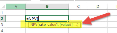 NPV - Financial Functions in Excel