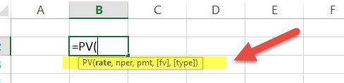 PV - Financial Functions in Excel