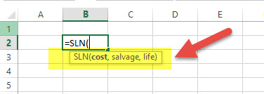 SLN - Financial Functions in Excel