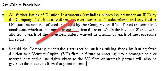 Term Sheet - Anti Dilution