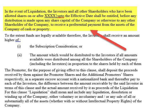 Term Sheet - Liquidation Preference