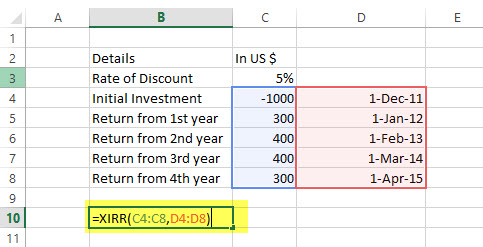 XIRR - Financial Functions in Excel Example