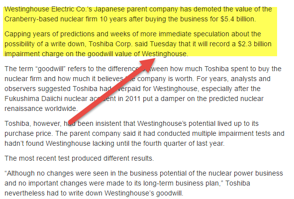 Impairment of Assets - Toshiba Goodwill