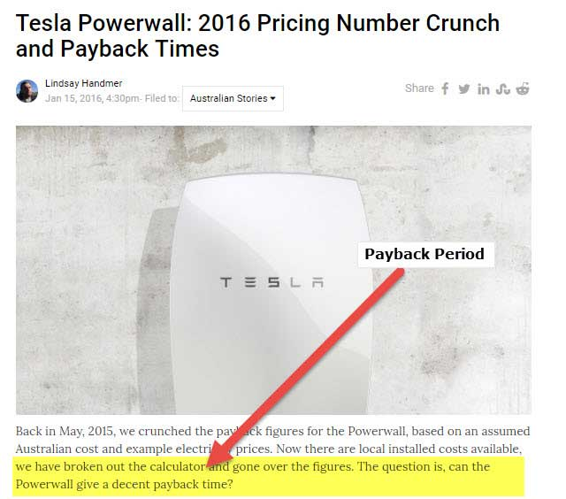 Tesla Powerwall Payback Period