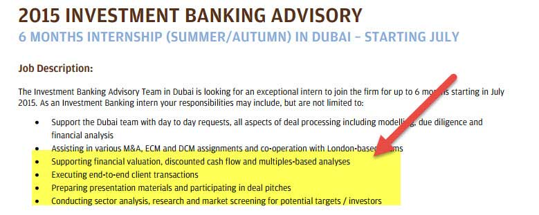 Investment Banking in Dubai - Internship