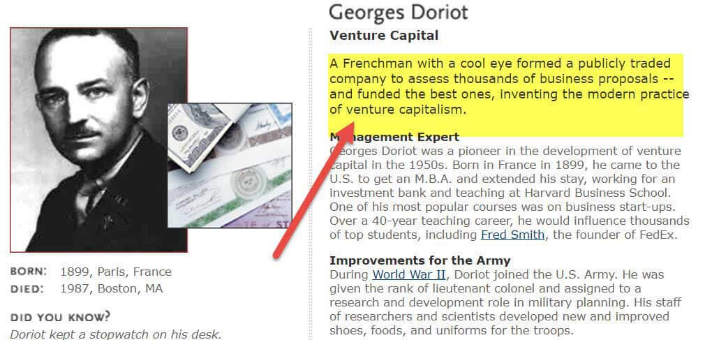 Georges Doriot - Venture Capital