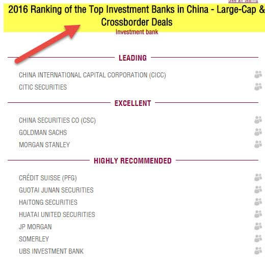 Top Investment Banks in China - 2016 - large cap