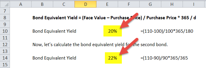 Bond Equivalent Yield Formula in excel