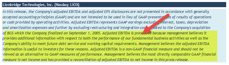 EBITDA as non GAAP measure