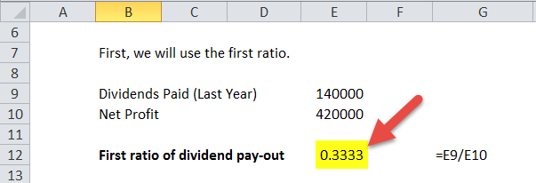 dividend pay-out ratio (first ratio)