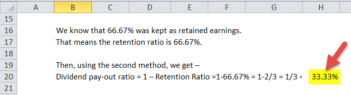 dividend pay-out ratio in excel