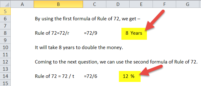 Rule of 72 Formula in Excel