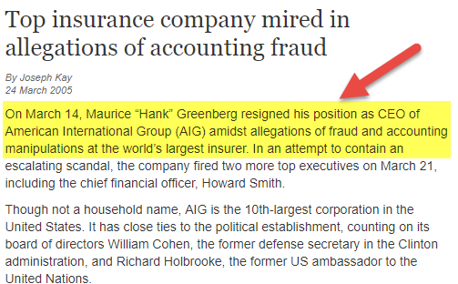 AIG Accounting Scandal