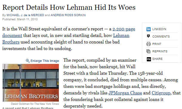 Lehman Brothers Accounting scandal