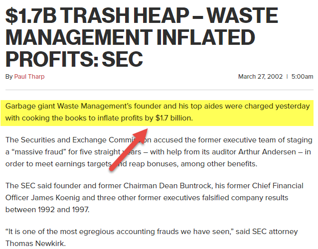 Waste Management Inc Accounting scandal