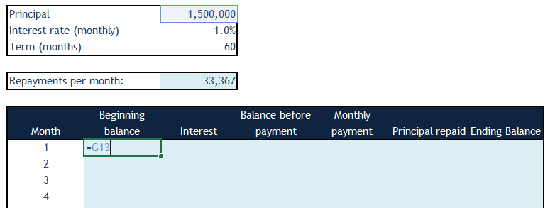 Loan Amortization in Excel - Step 3a