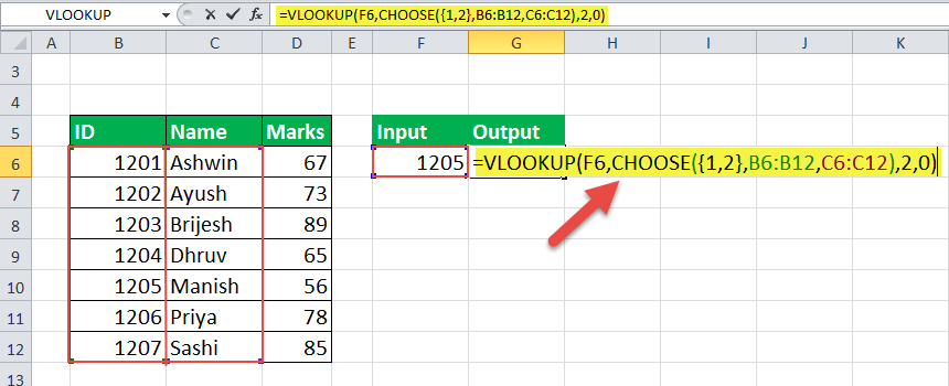 choose formula in excel Example 5-1