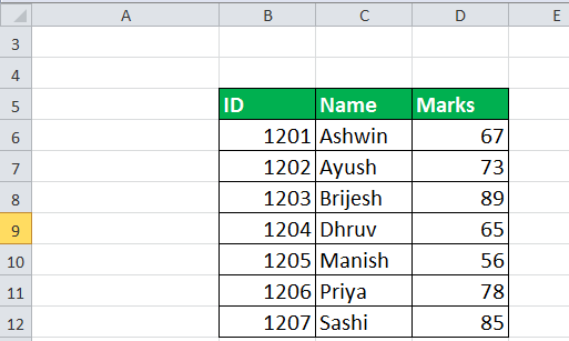 choose formula in excel Example 5