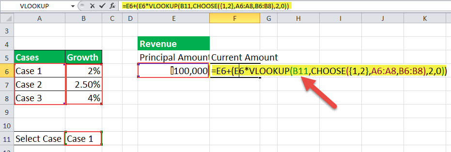 choose formula in excel Example 6-1