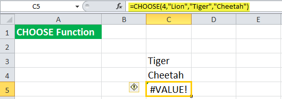 CHOOSE Function examples