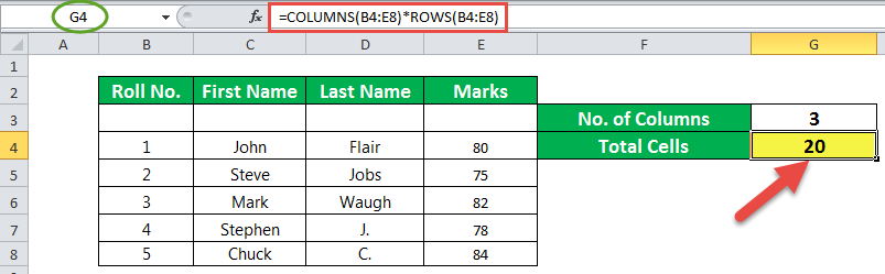 Columns Function Example 2